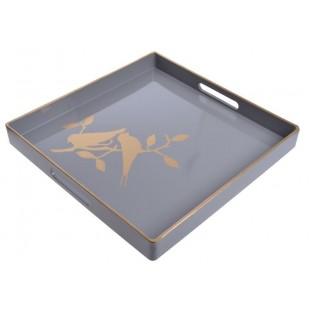 Taca szaro-złota ptaszek 35x35 cm