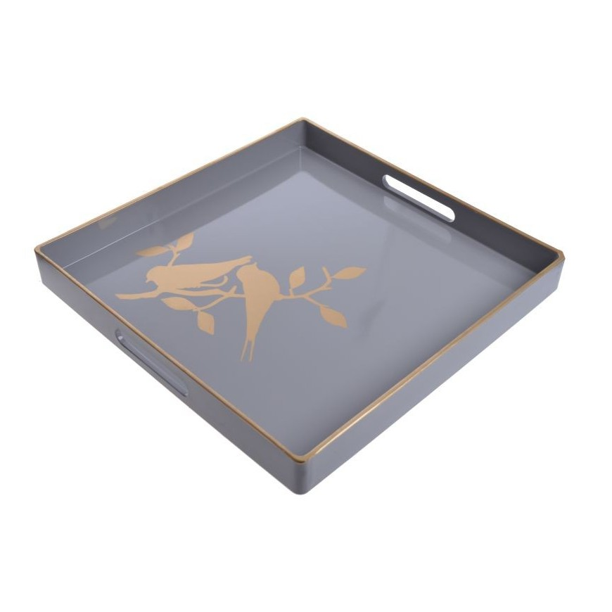 Taca biało-złota ptaszek 35x35 cm