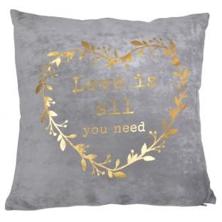 Poduszka szara ze złotym sercem 45x45 cm