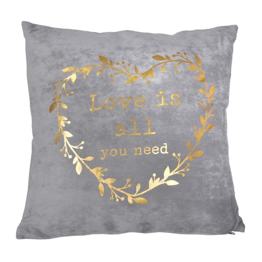 Poduszka szara ze złotym sercem