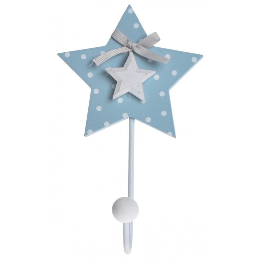 Wieszak pojedynczy niebieska gwiazdka