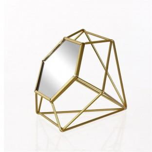 Lustro łazienkowe geometryczne złote 18 cm
