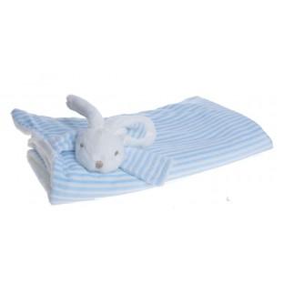 Kocyk z królikiem 72x70 biało-błękitny