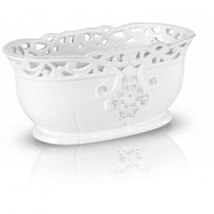 Osłonka biała ceramiczna ażurowa 22cmx12cmx9cm