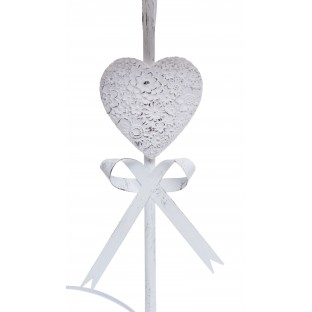 Lampa stołowa biała z sercem 53 cm