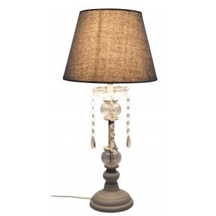 Lampa stołowa szara z kryształkami