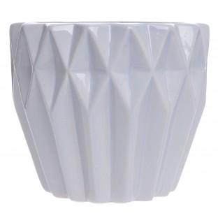 Doniczka ceramiczna geometryczna szara 14x12