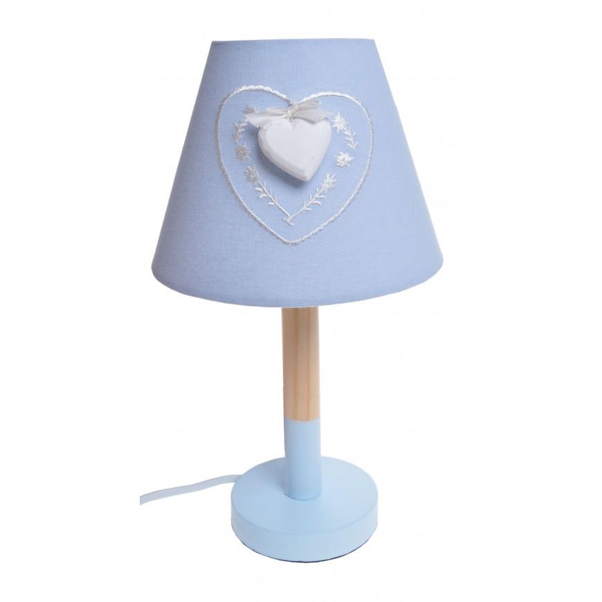 Lampa nocna niebieska z sercem 33 cm