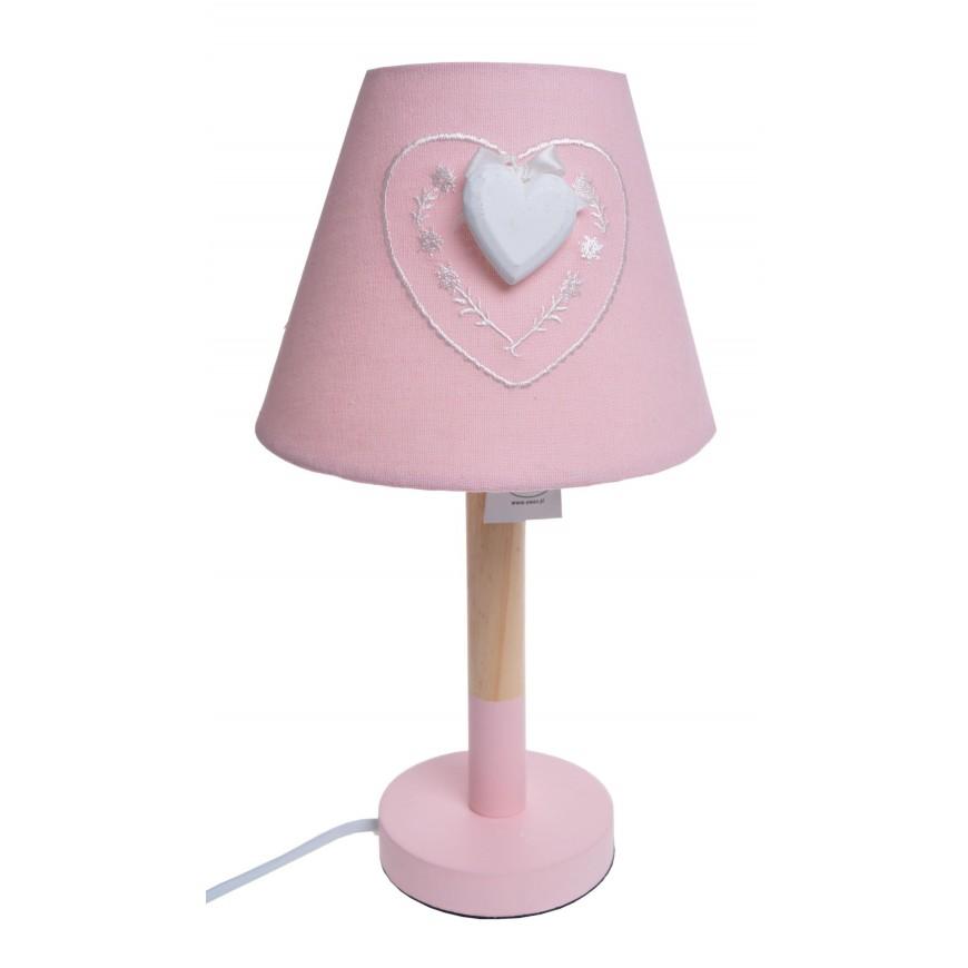 Lampa nocna różowa z sercem 33 cm