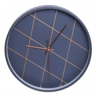 Zegar ścienny granatowy w złote paski 30 cm