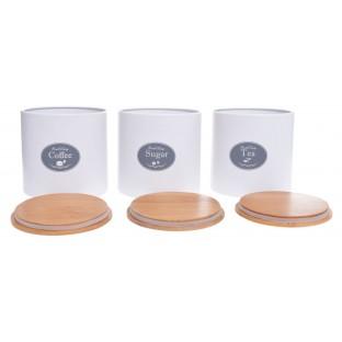Pojemniki kuchenne 3 szt. białe na cukier, kawę i herbatę