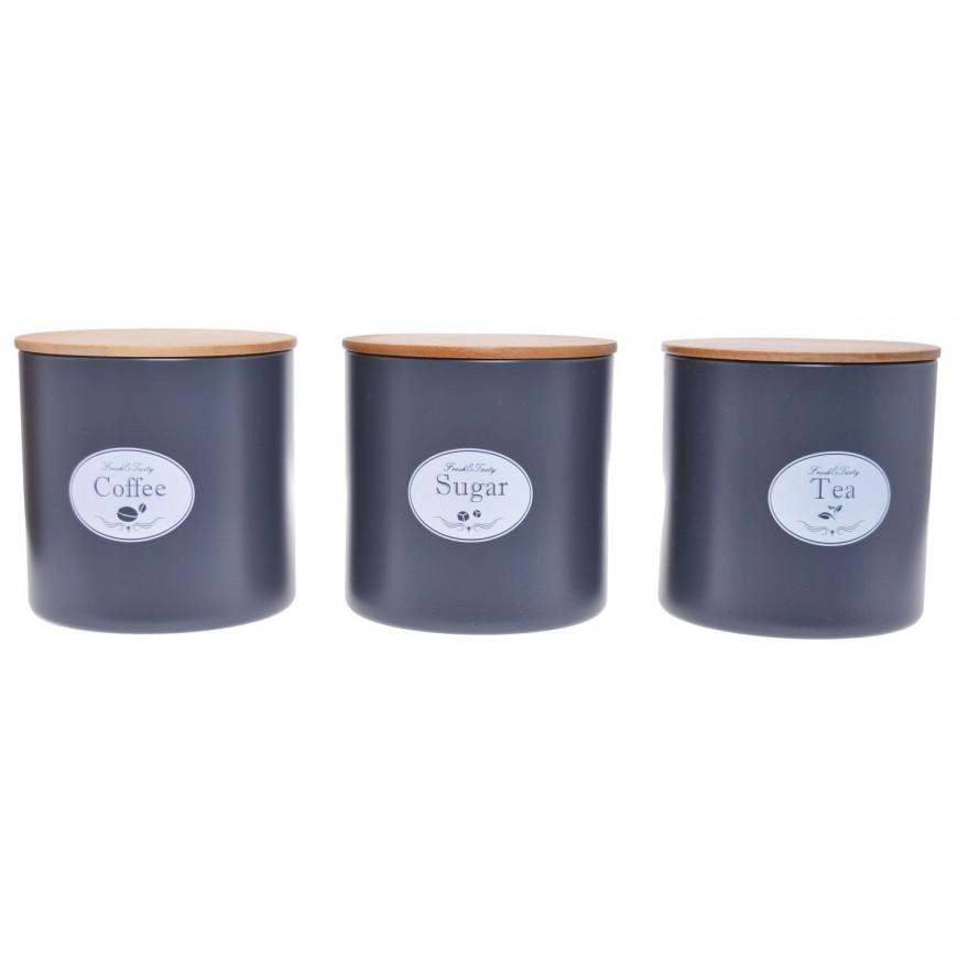Pojemniki kuchenne 3 szt. szare na cukier, kawę i herbatę