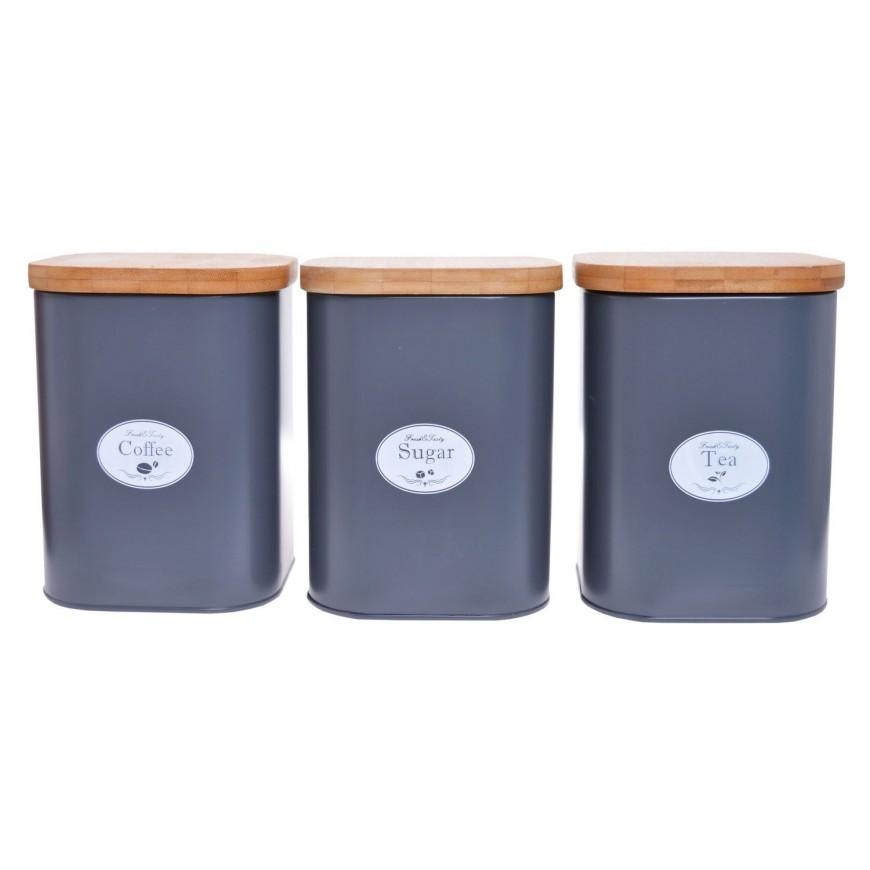 Pojemniki kuchenne 3 szt. szare  duże na cukier, kawę i herbatę