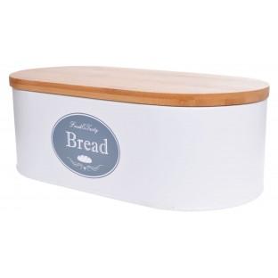 Chlebak metalowy biały z pokrywką