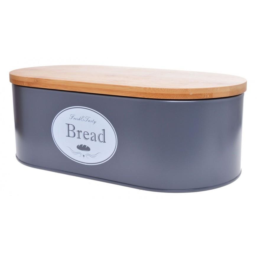 Chlebak metalowy z bambusową pokrywą BREAD szary mały