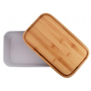 Chlebak metalowy prostokątny z bambusową pokrywą BREAD biały duży