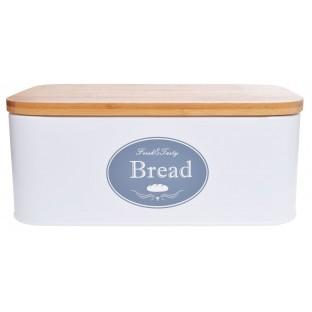 Chlebak metalowy prostokątny z bambusową pokrywą BREAD biały