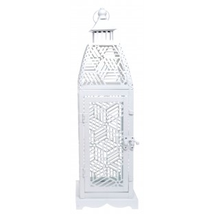 Latarnia lampion metalowa biała 42 cm