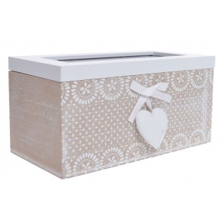 Pudełko na herbatę POJEMNIK beżowo-biały 18 cm 2 przegródki