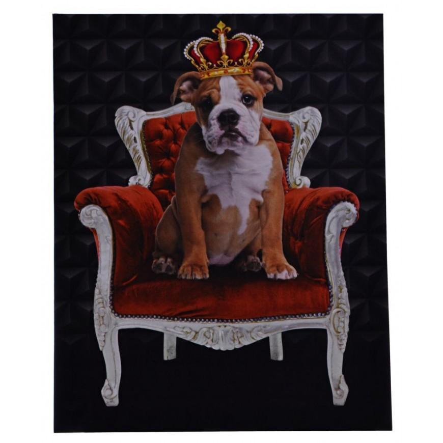 Obraz buldog na fotelu 40x50 cm
