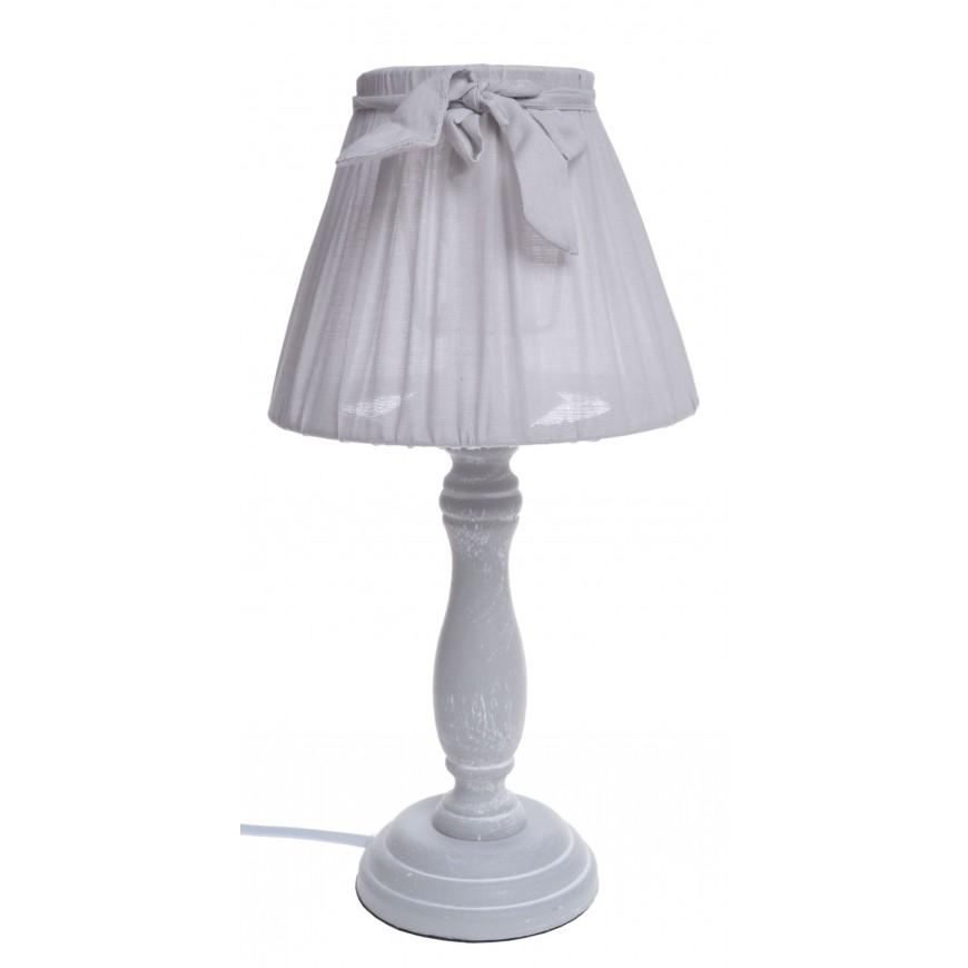Lampka Lampa nocna z kokardką szara w stylu vintage