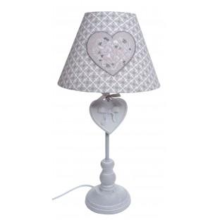 Lampka Lampa nocna szaro-biała z kloszem we wzory