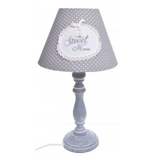 Lampa drewniana biało-szara w kropeczki Home Sweet Home