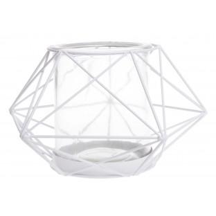 Świecznik metalowy biały geometryczny 18x10