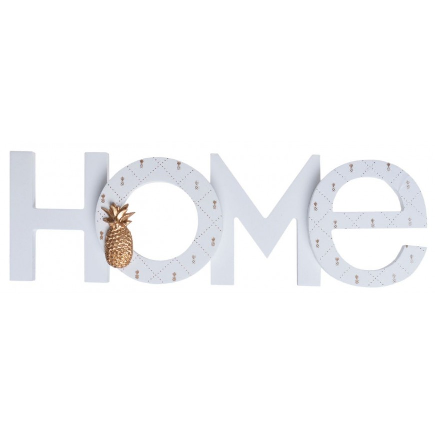 Napis HOME z ananasem biało złoty