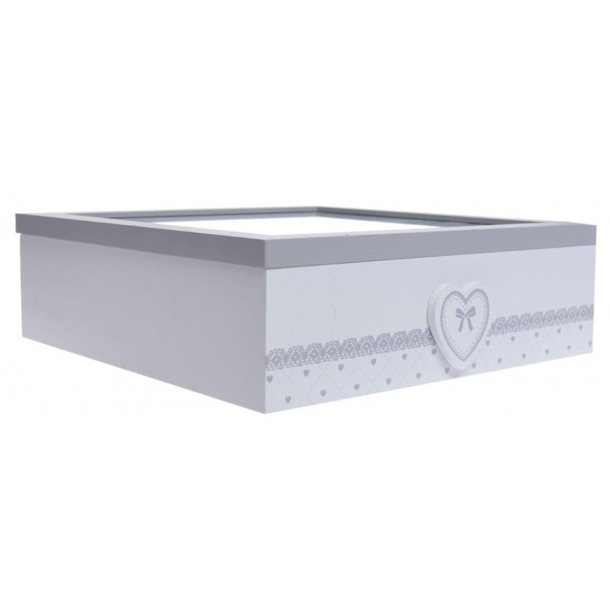 Pudełko na herbatę biało-szare duże w serca