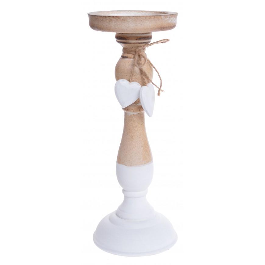 Świecznik biały drewniany wiszące serduszka 27 cm