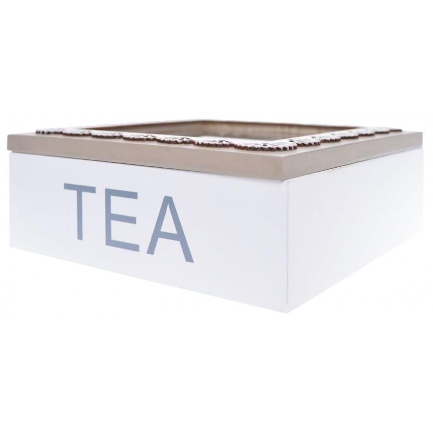 Pudełko na herbatę biało-beżowe z koronką 4 przegródki