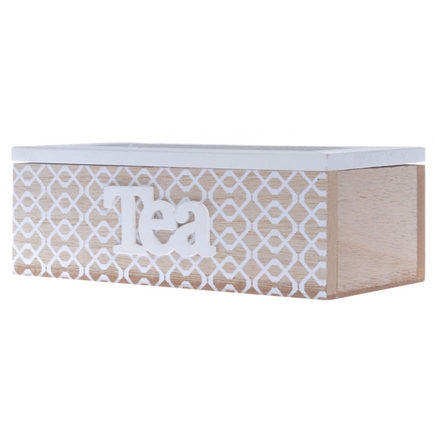 Pudełko na herbatę POJEMNIK beżowo-biały 20 cm
