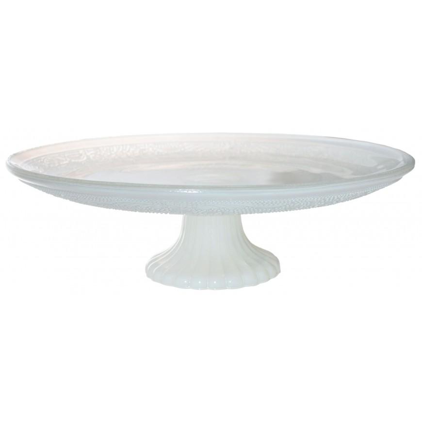 Patera szklana biała duża 25 cm