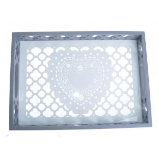 Taca z ażurowym sercem szaro-biała 35x25 cm