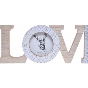 Napis LOVE z ramką na zdjęcie dekoracja skandynawska 30 cm