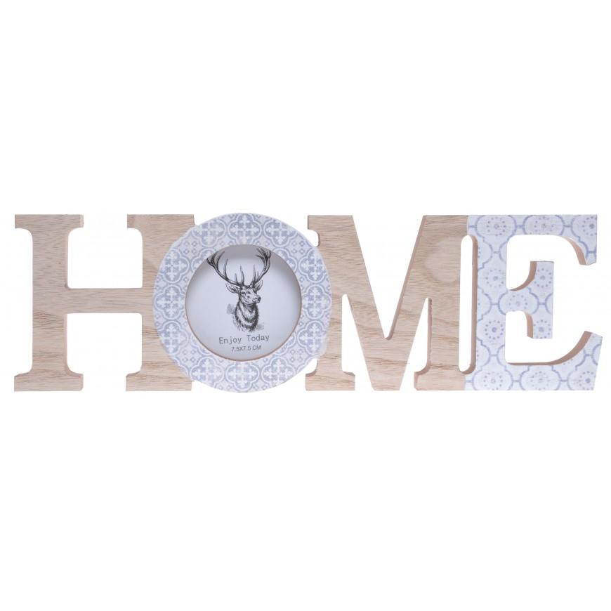 Napis HOME z ramką na zdjęcie dekoracja skandynawska 30 cm