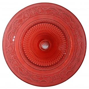 Patera szklana 25 cm czerwona