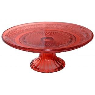 Patera do ciasta szklana 25 cm czerwona zdobiona