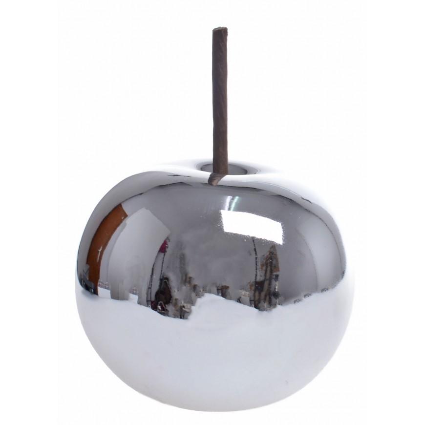 Jabłko ceramiczne srebrne małe 10 cm