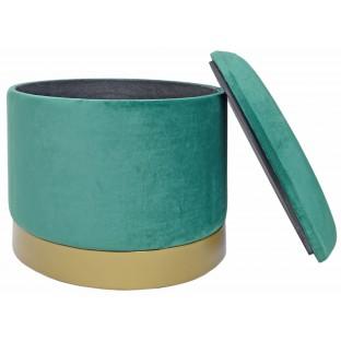 Taboret PUF POJEMNIK zielony 26 cm welurowy /ze schowkiem/