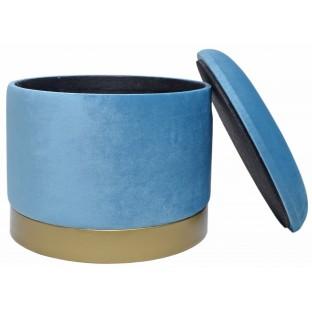 POJEMNIK PUF mały niebieski 26 cm welurowy /ze schowkiem/