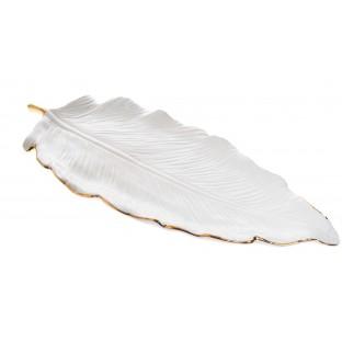 talerz ceramiczny liść ze złotym brzegiem