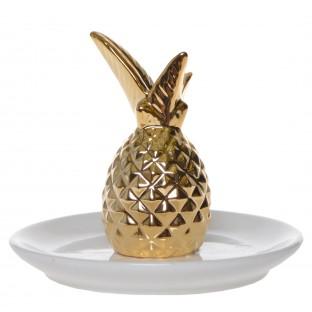 Talerzyk na biżuterię z ananasem biały