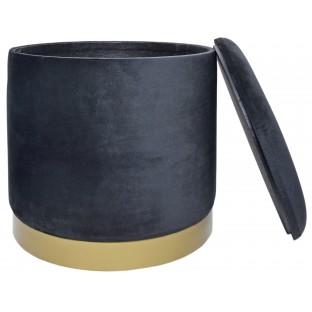 POJEMNIK PUF czarny 26 cm welurowy /ze schowkiem/
