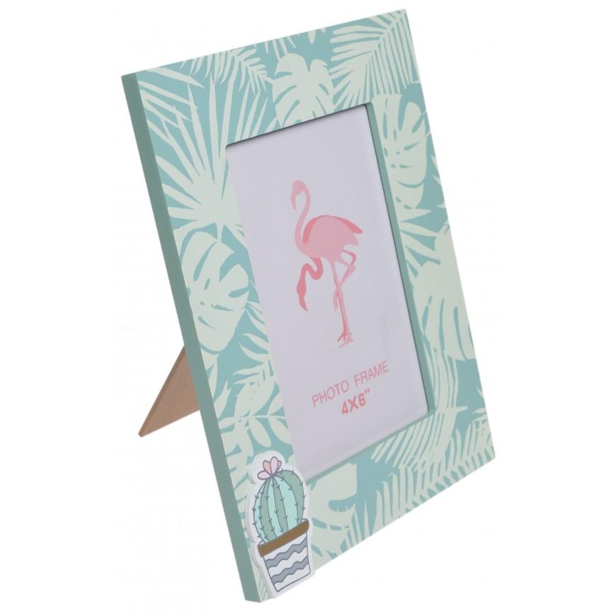 Ramka na zdjęcie w liście palmy miętowa 18,5x14,8 cm