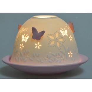 Lampion w motylki biało - różowy