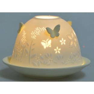 Lampion ceramiczny w motylki żółty 7,5 cm