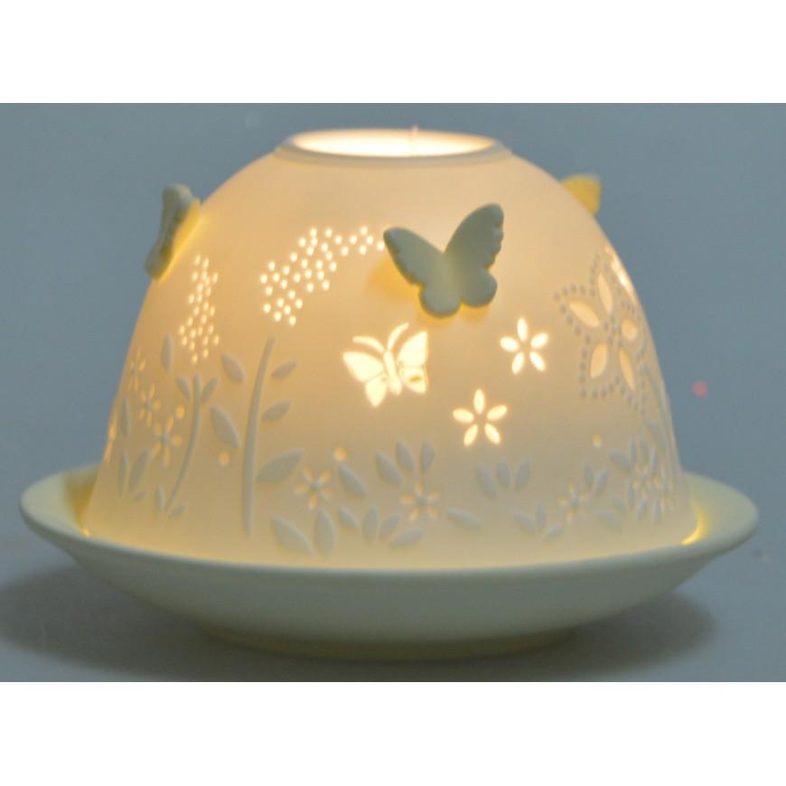Lampion ceramiczny w motylki żółty