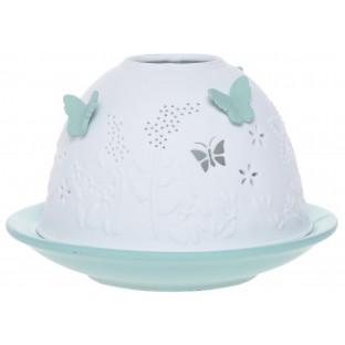 Lampion ceramiczny w motylki zielony pastelowy 7,5 cm
